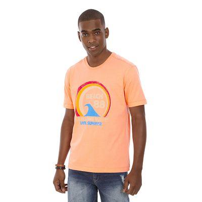 Camiseta-Gola-Careca-Estampada-Laranja