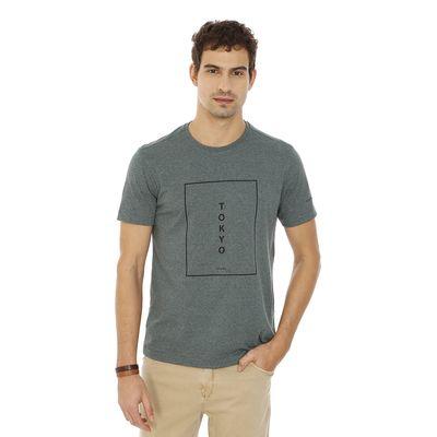 Camiseta-Gola-Careca-Estampada-Verde-