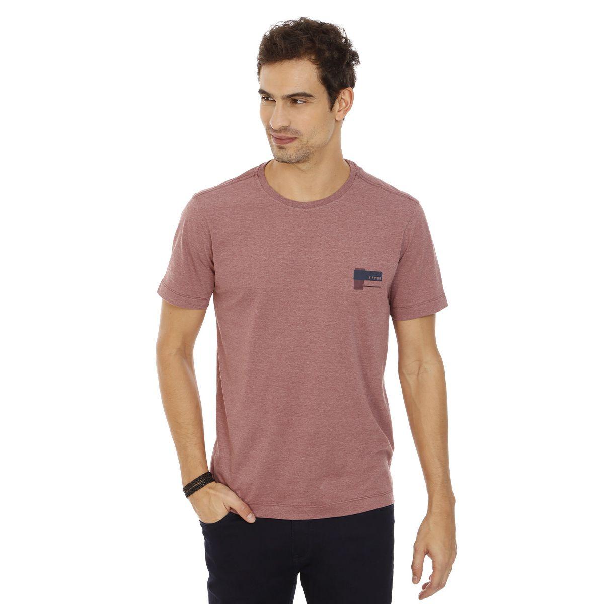 Camiseta-Gola-Careca-Estampada-Vermelho-