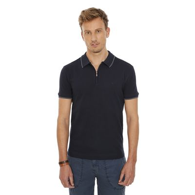 Polo-Lisa-De-Ziper-Gola-1-Listra-No-Tom-Azul-