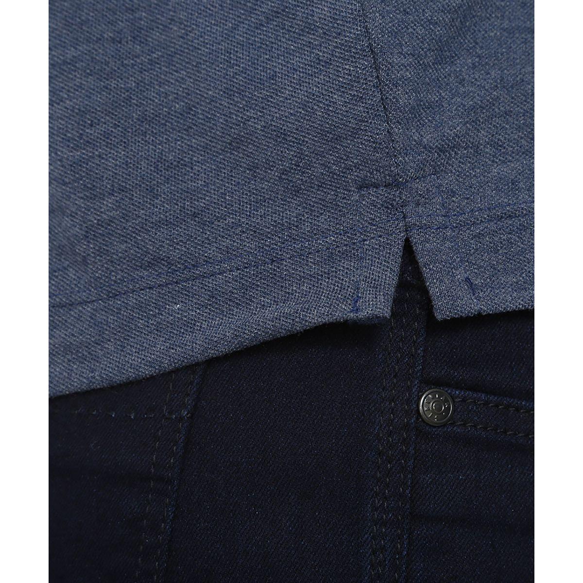 Polo-Lisa-De-Ziper-Gola-1-Listra-No-Tom-Azul-