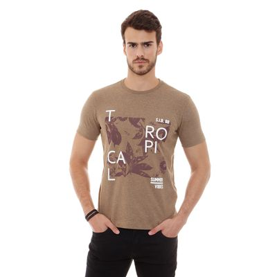 Camiseta-Gola-Careca-Estampada-Khaki---P