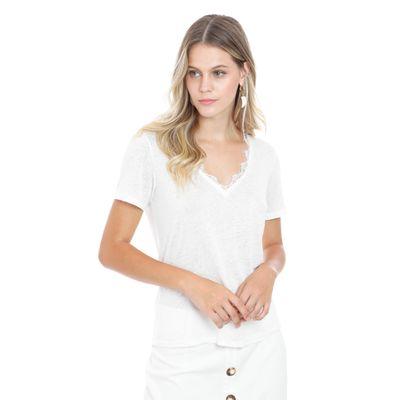 Blusa-De-Malha-Com-Renda-No-Decote-Off-White